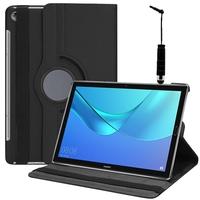 """Huawei MediaPad M5 10/ M5 10 Pro 10.8"""": Accessoire Etui Housse Coque avec support Et Rotative Rotation 360° en cuir PU + mini Stylet - NOIR"""