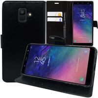 """Samsung Galaxy A6 (2018) 5.6""""/ A6 2018 Dual SIM (non compatible Galaxy A6+/ A6 Plus (2018) 6.0""""): Accessoire Etui portefeuille Livre Housse Coque Pochette support vidéo cuir PU - NOIR"""