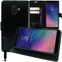 """Samsung Galaxy A6 (2018) 5.6""""/ A6 2018 Dual SIM (non compatible Galaxy A6+/ A6 Plus (2018) 6.0""""): Accessoire Etui portefeuille Livre Housse Coque Pochette support vidéo cuir PU + mini Stylet - NOIR"""