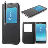 "Samsung Galaxy J2 Pro (2018) SM-J250F/ Galaxy Grand Prime Pro (2018) 5.0"": Etui View Case Flip Folio Leather cover + Stylet - NOIR"