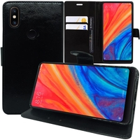 """Xiaomi Mi Mix 2S 5.99"""" (non compatible Xiaomi Mi Mix 2 2017): Accessoire Etui portefeuille Livre Housse Coque Pochette support vidéo cuir PU - NOIR"""