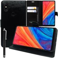 """Xiaomi Mi Mix 2S 5.99"""" (non compatible Xiaomi Mi Mix 2 2017): Accessoire Etui portefeuille Livre Housse Coque Pochette support vidéo cuir PU + Stylet - NOIR"""
