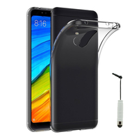 "Xiaomi Redmi 5 Plus 5.99"": Accessoire Housse Etui Coque gel UltraSlim et Ajustement parfait + mini Stylet - TRANSPARENT"