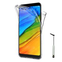"""Xiaomi Redmi 5 Plus 5.99"""": Coque Housse Silicone Gel TRANSPARENTE ultra mince 360° protection intégrale Avant et Arrière + mini Stylet - TRANSPARENT"""