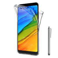 """Xiaomi Redmi 5 Plus 5.99"""": Coque Housse Silicone Gel TRANSPARENTE ultra mince 360° protection intégrale Avant et Arrière + Stylet - TRANSPARENT"""