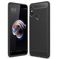 """Xiaomi Redmi Note 5/ Redmi Note 5 Pro 5.99"""": Coque Housse Silicone Souple en Fibre de Carbone Brossé motif TPU Case - NOIR"""