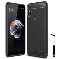 """Xiaomi Redmi Note 5/ Redmi Note 5 Pro 5.99"""": Coque Housse Silicone Souple en Fibre de Carbone Brossé motif TPU Case + mini Stylet - NOIR"""