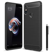 """Xiaomi Redmi Note 5/ Redmi Note 5 Pro 5.99"""": Coque Housse Silicone Souple en Fibre de Carbone Brossé motif TPU Case + Stylet - NOIR"""