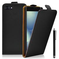 """Asus Zenfone 4 Max/ Max Pro/ Max Plus ZC554KL 5.5"""" (non compatible Zenfone 4 Max ZC520KL 5.2""""): Accessoire Housse Coque Pochette Etui protection vrai cuir à rabat vertical + Stylet - NOIR"""