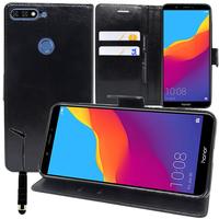 """Huawei Honor 7C (2018) 5.99""""/ Huawei Enjoy 8: Accessoire Etui portefeuille Livre Housse Coque Pochette support vidéo cuir PU + mini Stylet - NOIR"""