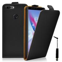 """Huawei Honor 9 Lite 5.65""""/ AL00/ AL10/ TL10/ Honor 9 Youth Edition: Accessoire Housse Coque Pochette Etui protection vrai cuir à rabat vertical + mini Stylet - NOIR"""