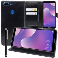 """Huawei Y7 (2018) 5.99"""" (non compatible Huawei Y7 5.5"""" 2017): Accessoire Etui portefeuille Livre Housse Coque Pochette support vidéo cuir PU + Stylet - NOIR"""