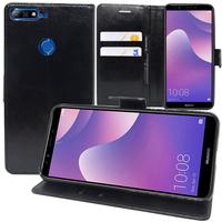 """Huawei Y7 Prime (2018) 5.99""""/ Nova 2 Lite: Accessoire Etui portefeuille Livre Housse Coque Pochette support vidéo cuir PU - NOIR"""