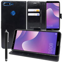 """Huawei Y7 Prime (2018) 5.99""""/ Nova 2 Lite: Accessoire Etui portefeuille Livre Housse Coque Pochette support vidéo cuir PU + Stylet - NOIR"""