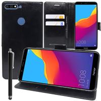 """Huawei Y7 Pro (2018) 5.99"""": Accessoire Etui portefeuille Livre Housse Coque Pochette support vidéo cuir PU + Stylet - NOIR"""