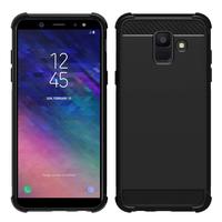 "Samsung Galaxy A6 (2018) 5.6""/ A6 2018 Dual SIM (non compatible Galaxy A6+/ A6 Plus (2018) 6.0""): Coque Housse Silicone Souple en Fibre de Carbone Brossé motif TPU Case - NOIR"