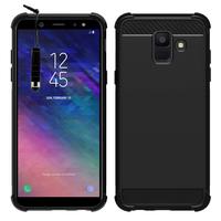 """Samsung Galaxy A6 (2018) 5.6""""/ A6 2018 Dual SIM (non compatible Galaxy A6+/ A6 Plus (2018) 6.0""""): Coque Housse Silicone Souple en Fibre de Carbone Brossé motif TPU Case + mini Stylet - NOIR"""