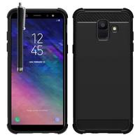 "Samsung Galaxy A6 (2018) 5.6""/ A6 2018 Dual SIM (non compatible Galaxy A6+/ A6 Plus (2018) 6.0""): Coque Housse Silicone Souple en Fibre de Carbone Brossé motif TPU Case + Stylet - NOIR"