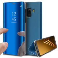 """Samsung Galaxy A8 (2018) A530F 5.6""""/ A8 (2018) Duos A530F/DS: Clear View Housse Etui Flip Folio Support Vidéo Effet Mirroir - BLEU"""