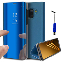 "Samsung Galaxy A8 (2018) A530F 5.6""/ A8 (2018) Duos A530F/DS: Clear View Housse Etui Flip Folio Support Vidéo Effet Mirroir + mini Stylet - BLEU"
