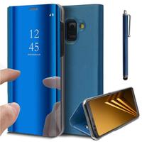 "Samsung Galaxy A8 (2018) A530F 5.6""/ A8 (2018) Duos A530F/DS: Clear View Housse Etui Flip Folio Support Vidéo Effet Mirroir + Stylet - BLEU"