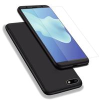 """Huawei Y5 (2018)/ Y5 Prime (2018)/ Honor 7s 5.45"""": Coque de protection intégrale 360° Avant Et Arrière Ultra Mince Ultra Léger avec Verre Trempé pour l'Ecran - NOIR"""