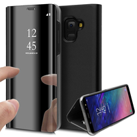 """Samsung Galaxy A6 (2018) 5.6""""/ A6 2018 Dual SIM (non compatible Galaxy A6+/ A6 Plus (2018) 6.0""""): Clear View Housse Etui Flip Folio Support Vidéo Effet Mirroir - NOIR"""
