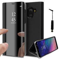 """Samsung Galaxy A6 (2018) 5.6""""/ A6 2018 Dual SIM (non compatible Galaxy A6+/ A6 Plus (2018) 6.0""""): Clear View Housse Etui Flip Folio Support Vidéo Effet Mirroir + mini Stylet - NOIR"""