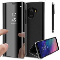 "Samsung Galaxy A6 (2018) 5.6""/ A6 2018 Dual SIM (non compatible Galaxy A6+/ A6 Plus (2018) 6.0""): Clear View Housse Etui Flip Folio Support Vidéo Effet Mirroir + Stylet - NOIR"