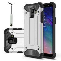 "Samsung Galaxy A6 (2018) 5.6""/ A6 2018 Dual SIM (non compatible Galaxy A6+/ A6 Plus (2018) 6.0""): Coque Antichoc Rugged Armor Neo Hybrid carbone + mini Stylet - ARGENT"