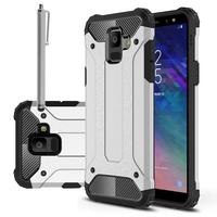 "Samsung Galaxy A6 (2018) 5.6""/ A6 2018 Dual SIM (non compatible Galaxy A6+/ A6 Plus (2018) 6.0""): Coque Antichoc Rugged Armor Neo Hybrid carbone + Stylet - ARGENT"