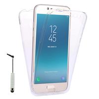 """Samsung Galaxy J2 Pro (2018) SM-J250F/ Galaxy Grand Prime Pro (2018) 5.0"""": Coque Housse Silicone Gel TRANSPARENTE ultra mince 360° protection intégrale Avant et Arrière + mini Stylet - TRANSPARENT"""