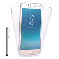 """Samsung Galaxy J2 Pro (2018) SM-J250F/ Galaxy Grand Prime Pro (2018) 5.0"""": Coque Housse Silicone Gel TRANSPARENTE ultra mince 360° protection intégrale Avant et Arrière + Stylet - TRANSPARENT"""