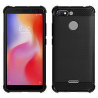 """Xiaomi Redmi 6A 5.45"""": Coque Housse Silicone Souple en Fibre de Carbone Brossé motif TPU Case - NOIR"""