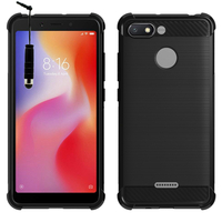 """Xiaomi Redmi 6A 5.45"""": Coque Housse Silicone Souple en Fibre de Carbone Brossé motif TPU Case + mini Stylet - NOIR"""