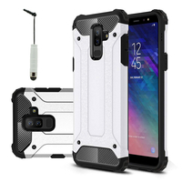 "Samsung Galaxy A6+/ A6 Plus (2018) 6.0""/ Galaxy A9 Star Lite (non compatible Galaxy A6 (2018) 5.6""): Coque Antichoc Rugged Armor Neo Hybrid carbone + mini Stylet - ARGENT"