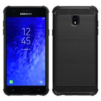 """Samsung Galaxy J7 (2018) 5.5"""" (non compatible Galaxy J7 Version 2015/ 2016/ 2017): Coque Housse Silicone Souple en Fibre de Carbone Brossé motif TPU Case - NOIR"""