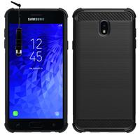"""Samsung Galaxy J7 (2018) 5.5"""" (non compatible Galaxy J7 Version 2015/ 2016/ 2017): Coque Housse Silicone Souple en Fibre de Carbone Brossé motif TPU Case + mini Stylet - NOIR"""