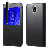 "Samsung Galaxy J7 (2018) 5.5"" (non compatible Galaxy J7 Version 2015/ 2016/ 2017): Etui View Case Flip Folio Leather cover + Stylet - NOIR"