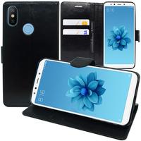 """Xiaomi Mi A2/ Mi 6X 5.99"""": Accessoire Etui portefeuille Livre Housse Coque Pochette support vidéo cuir PU - NOIR"""