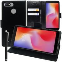 """Xiaomi Redmi 6A 5.45"""": Accessoire Etui portefeuille Livre Housse Coque Pochette support vidéo cuir PU + Stylet - NOIR"""