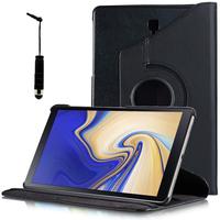 """Samsung Galaxy Tab S4 10.5 (2018) SM-T830 T835 10.5"""" [Les Dimensions EXACTES du telephone: 249.3 x 164.3 x 7.1 mm]: Accessoire Etui Housse Coque avec support Et Rotative Rotation 360° en cuir PU + mini Stylet - NOIR"""