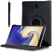 """Samsung Galaxy Tab S4 10.5 (2018) SM-T830 T835 10.5"""" [Les Dimensions EXACTES du telephone: 249.3 x 164.3 x 7.1 mm]: Accessoire Etui Housse Coque avec support Et Rotative Rotation 360° en cuir PU + Stylet - NOIR"""