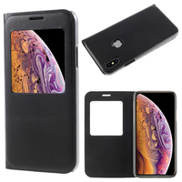 "Apple iPhone XS (2018) 5.8"" (non compatible iPhone XS Max 6.5""): Etui View Case Flip Folio Leather cover - NOIR"