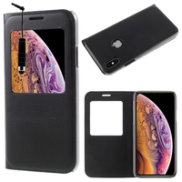 "Apple iPhone XS (2018) 5.8"" (non compatible iPhone XS Max 6.5""): Etui View Case Flip Folio Leather cover + mini Stylet - NOIR"