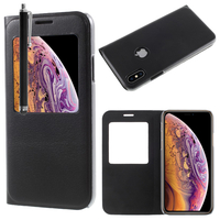 "Apple iPhone XS (2018) 5.8"" (non compatible iPhone XS Max 6.5""): Etui View Case Flip Folio Leather cover + Stylet - NOIR"