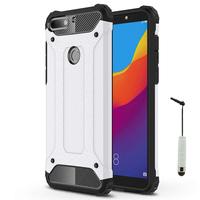 "Huawei Honor 7C (2018) 5.99""/ Huawei Enjoy 8: Coque Antichoc Rugged Armor Neo Hybrid carbone + mini Stylet - ARGENT"