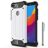 "Huawei Honor 7C (2018) 5.99""/ Huawei Enjoy 8: Coque Antichoc Rugged Armor Neo Hybrid carbone + Stylet - ARGENT"