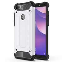 "Huawei Y7 (2018) 5.99"" (non compatible Huawei Y7 5.5"" 2017): Coque Antichoc Rugged Armor Neo Hybrid carbone - ARGENT"