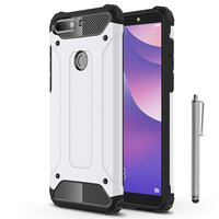 "Huawei Y7 (2018) 5.99"" (non compatible Huawei Y7 5.5"" 2017): Coque Antichoc Rugged Armor Neo Hybrid carbone + Stylet - ARGENT"